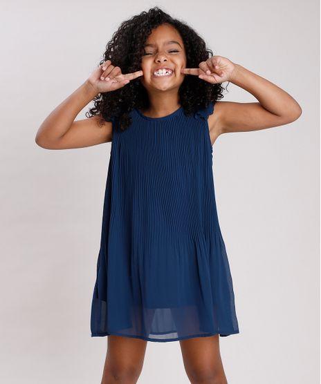 Vestido-Infantil-Plissado-com-Flores-Sem-Manga-Azul-Marinho-9678263-Azul_Marinho_1
