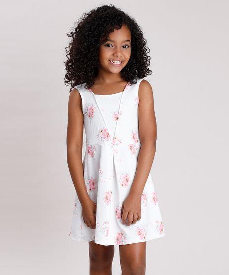 Vestido-Infantil-Texturizado-Estampado-Floral-Sem-Manga-Branco-9787567-Branco_1