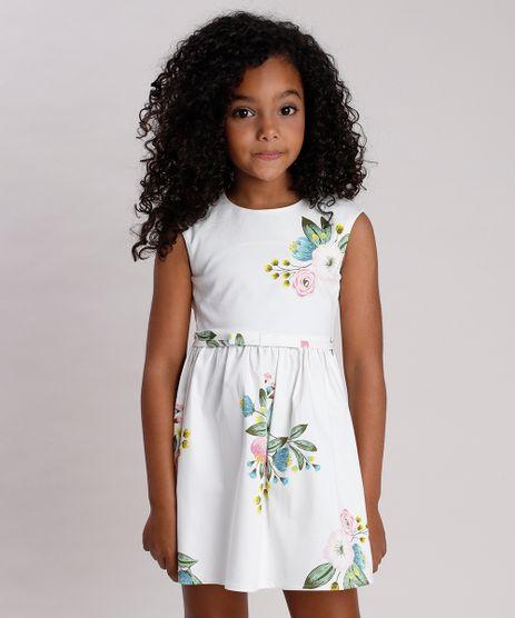 Vestido-Infantil-Estampado-Floral-com-Vazado-e-Laco-Sem-Manga-Off-White-9675856-Off_White_1