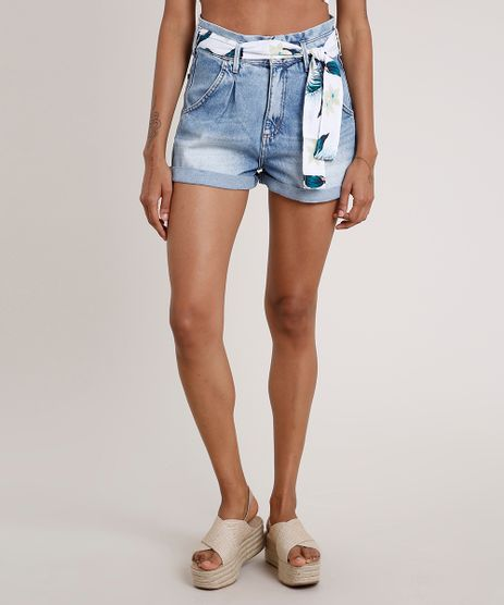 Short-Jeans-Feminino-Clochard-Cintura-Super-Alta-com-Faixa-Estampada-Floral-Azul-Claro-9833796-Azul_Claro_1
