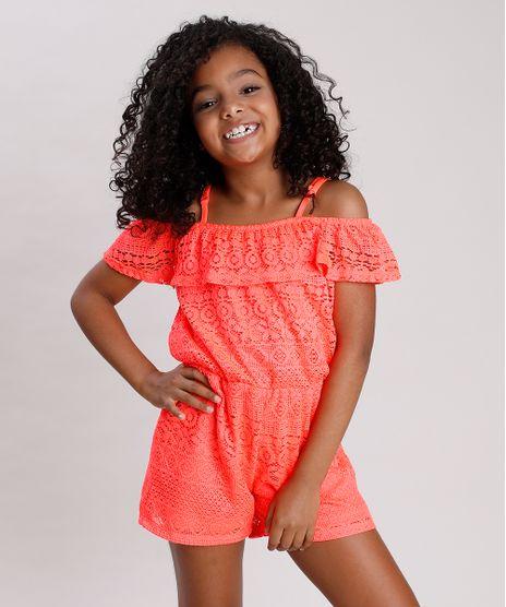 Macaquinho-Infantil-Open-Shoulder-em-Renda-Manga-Curta-Coral-Neon-9682140-Coral_Neon_1