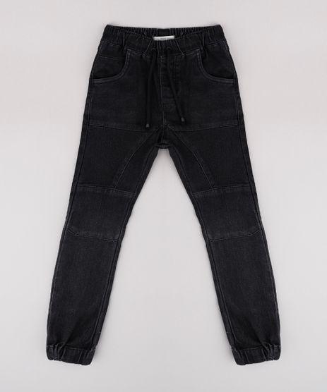 Calca-Jeans-Infantil-Jogger-com-Recortes-Preta-9767896-Preto_1