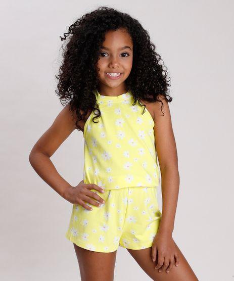 Macaquinho-Infantil-Halter-Neck-Estampado-Floral-com-Laco-Amarelo-9762704-Amarelo_1