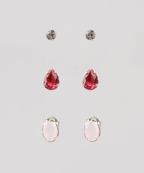 Kit-de-3-Brincos-Femininos-Folheados-com-Pedra-Zirconia-Rosa-9775309-Rosa_1