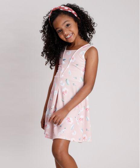 Vestido-Infantil-Texturizado-Estampado-Floral-Sem-Manga-Rose-9787568-Rose_1
