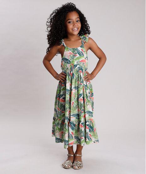Vestido-Infantil-Longo-Estampado-de-Folhagens-com-Flamingos-e-Babado-Verde-9752690-Verde_1