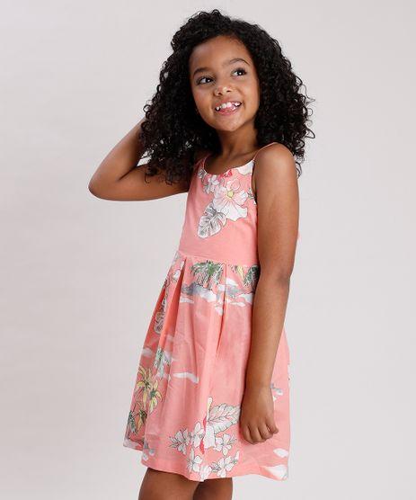 Vestido-Infantil-Estampado-de-Ilha-com-Vazado-e-Laco-Coral-9675853-Coral_1
