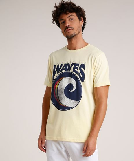 Camiseta-Masculina--Waves--Manga-Curta-Gola-Careca-Amarela-Claro-9785998-Amarelo_Claro_1