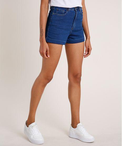 Short-Jeans-Feminino-Hot-Pant-Cintura-Super-Alta-com-Barra-Dobrada-Azul-Medio-9557198-Azul_Medio_1
