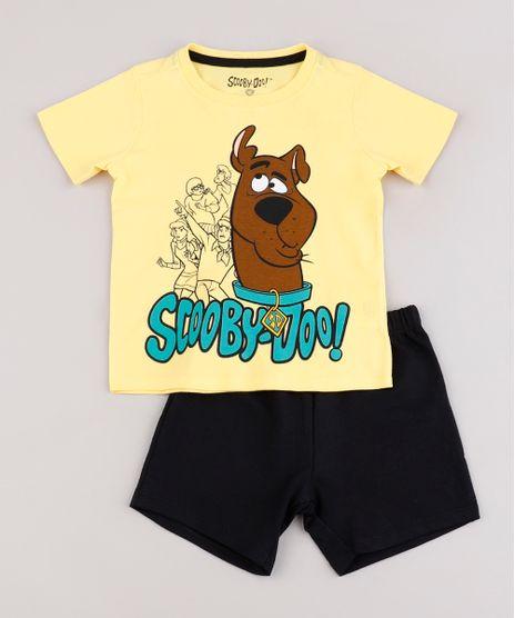 Conjunto-Infantil-Scooby-Doo-de-Camiseta-Manga-Curta-Vermelha---Bermuda-em-Moletom-Preta-9843689-Preto_1