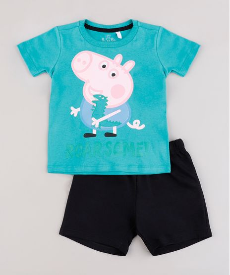 Conjunto-Infantil-George-Pig-de-Camiseta-Manga-Curta-Verde-Agua---Bermuda-em-Moletom-Preta-9843687-Preto_1