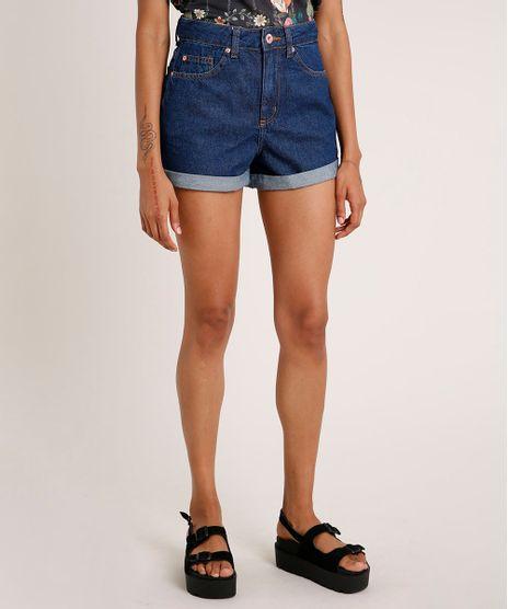 Short-Jeans-Feminino-Mom-Cintura-Super-Alta-com-Barra-Dobrada-Azul-Escuro-9559786-Azul_Escuro_1