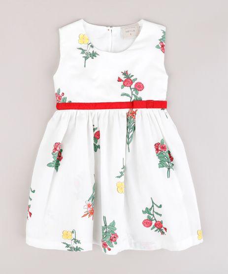 Vestido-Infantil-Estampado-Floral-com-Laco-Sem-Manga-Branco-9740377-Branco_1