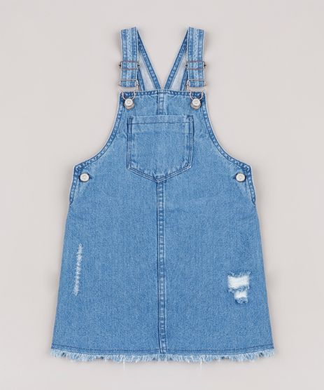 Salopete-Jeans-Infantil-com-Rasgos-e-Bolso-Barra-Desfiada-Azul-Medio-9746444-Azul_Medio_1