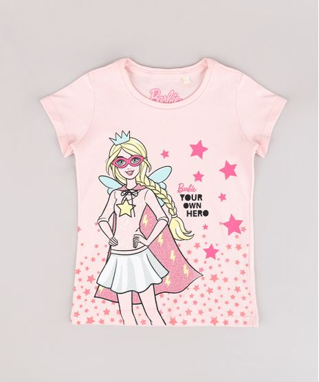 Blusa-Infantil-Barbie--Your-Own-Hero--Manga-Curta-Rose-9757220-Rose_1
