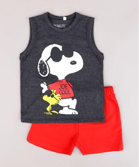 Conjunto-Infantil-de-Regata-Snoopy-Cinza-Mescla-Claro---Bermuda-em-Moletom-Vermelha-9843693-Vermelho_1