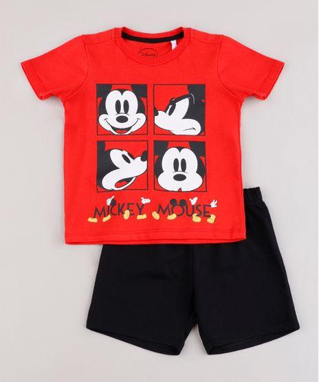 Conjunto-Infantil-Mickey-de-Camiseta-Manga-Curta-Vermelha---Bermuda-em-Moletom-Preta-9843692-Preto_1