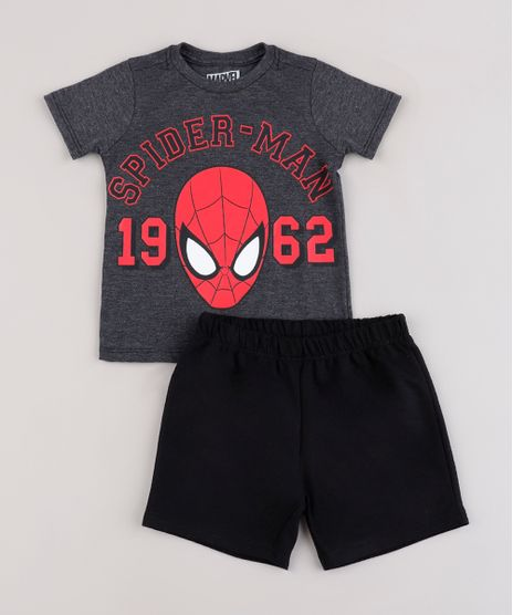 Conjunto-Infantil-Homem-Aranha-de-Camiseta-Manga-Curta-Vermelha---Bermuda-em-Moletom-Preta-9843818-Preto_1