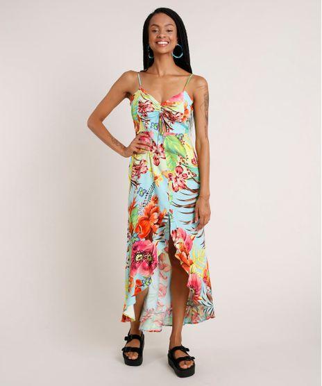 Vestido-Feminino-Midi-Mullet-Estampado-Floral-com-Babado-Alca-Fina-Decote-V-Azul-9681371-Azul_1