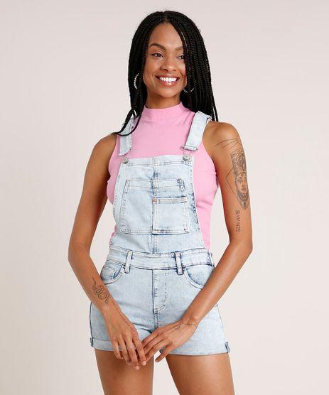 Jardineira-Jeans-Feminina-Reta-com-Barra-Dobrada-Azul-Claro-9834570-Azul_Claro_1