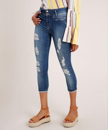 Calca-Jeans-Feminina-Sawary-Cropped-Cintura-Alta-Destroyed-Azul-Medio-9857020-Azul_Medio_1