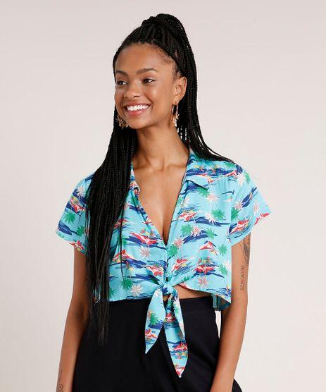 Camisa-Feminina-Cropped-Estampada-de-Coqueiro-com-No-Manga-Curta-Azul-9781291-Azul_1