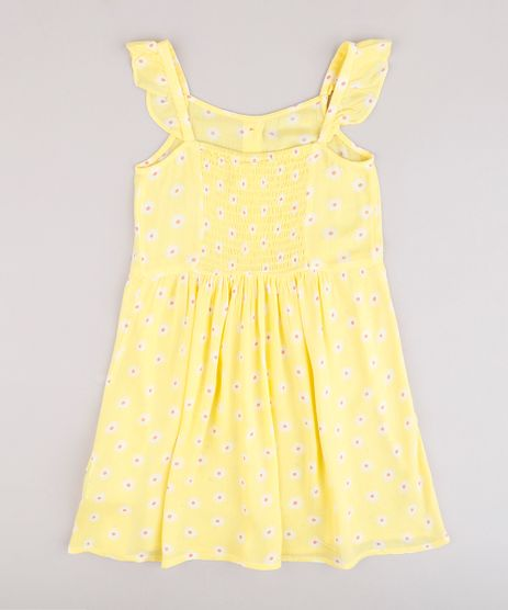 Vestido-Infantil-Estampado-Floral-com-Botoes-e-Babado-Alca-Fina--Amarelo-9695674-Amarelo_1