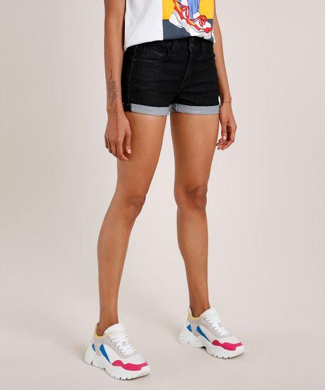 Short-Jeans-Feminino-Reto-Cintura-Media-com-Barra-Dobrada-Preto-9833804-Preto_1