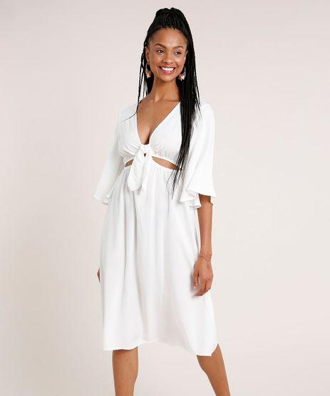 Vestido-Saida-de-Praia-Feminino-Midi-com-Argola-e-No-Manga-3-4-Decote-V-Off-White-9783556-Off_White_1