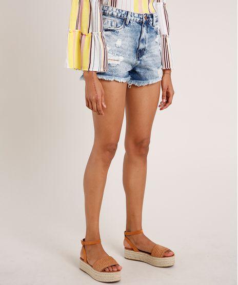 Short-Jeans-Feminino-Mom-Cintura-Super-Alta-Destroyed-Azul-Claro-9835557-Azul_Claro_1