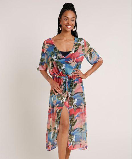 Vestido-Saida-de-Praia-Feminino-Estampado-de-Folhagens-com-Fenda-Manga-3-4-Azul-Claro-9783564-Azul_Claro_1