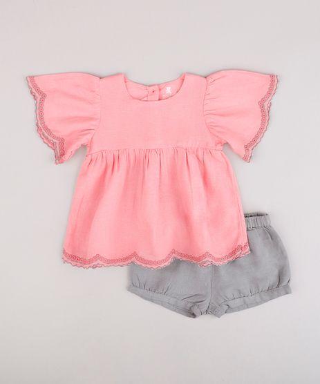 Conjunto-Infantil-de-Blusa-Manga-Curta---Short-Balone-Cinza-9689477-Cinza_1