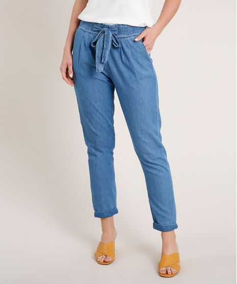 Calca-Jeans-Feminina-Clochard-com-Amarracao-e-Bolsos-Azul-Claro-9381646-Azul_Claro_1