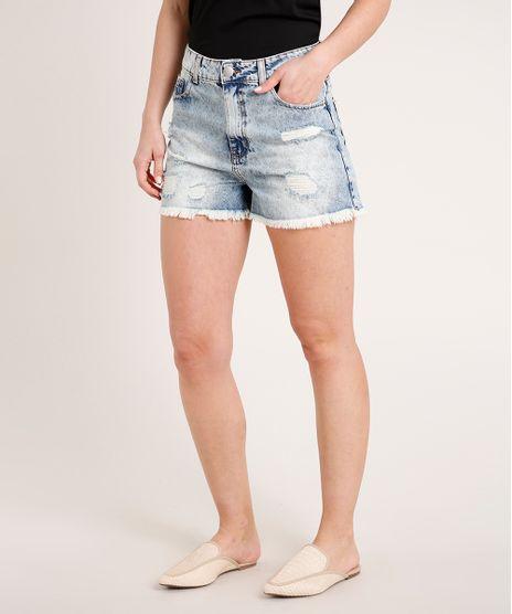 Short-Jeans-Feminino-Cintura-Super-Alta-Destroyed--Azul-Claro-9835419-Azul_Claro_1