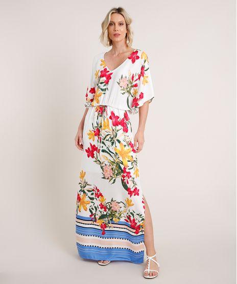Vestido-Feminino-Longo-Estampado-Floral-com-Fenda-Manga-Curta-Branco-9654716-Branco_1