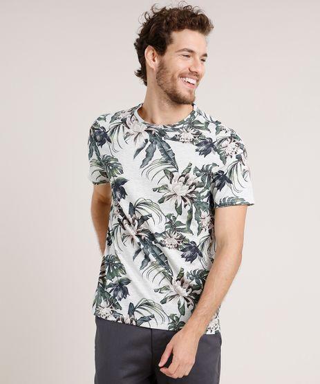 Camiseta-Masculina-Slim-Fit-Estampada-Floral-Manga-Curta-Gola-Careca-Cinza-Mescla-Claro-9259145-Cinza_Mescla_Claro_1