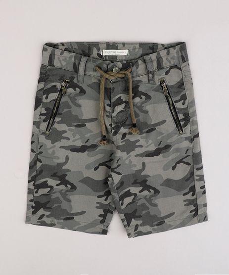 Bermuda-de-Sarja-Infantil-Estampada-Camuflada-com-Bolso-e-Cordao--Verde-Militar-9761832-Verde_Militar_1