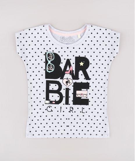 Blusa-Infantil-Barbie-Estampada-de-Poa-Manga-Curta-Cinza-Mescla-Claro-9757218-Cinza_Mescla_Claro_1