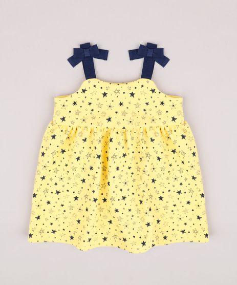 Vestido-Infantil-Estampado-de-Estrelas-com-Lacos-Alca-Media-Amarelo-9664217-Amarelo_1