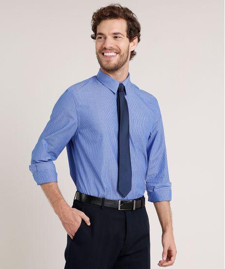 Camisa-Masculina-Comfort-Listrada-com-Bolso-Manga-Longa-Azul-9639460-Azul_1