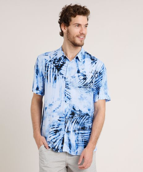 Camisa-Masculina-Relaxed-Estampada-de-Folhagem-Manga-Curta-Azul-Claro-9645933-Azul_Claro_1