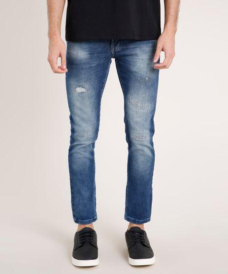 Calca-Jeans-Masculina-Skinny-Cropped-com-Puidos-Azul-Medio-9766997-Azul_Medio_1