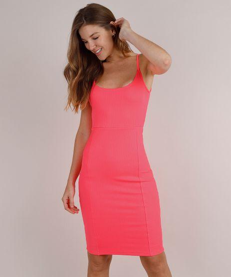 Vestido-Feminino-Midi-Canelado-Alcas-Finas-Rosa-Neon-9777576-Rosa_Neon_1
