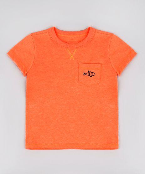 Camiseta-Infantil-com-Bolso-e-Bordado-Manga-Curta-Laranja-Neon-9780171-Laranja_Neon_1