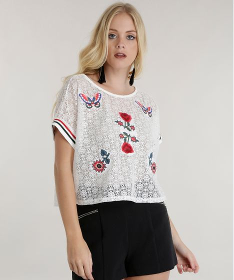 e9235b7dc2 Blusa Cropped em Renda com Patch Off White - cea