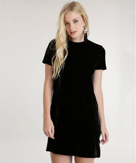 Black Friday Vestido Em Veludo Preto Cea