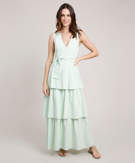 Vestido-Feminino-Mindset-Longo-em-Camadas-com-Faixa-para-Amarrar-Sem-Manga-Verde-Claro-9886832-Verde_Claro_1