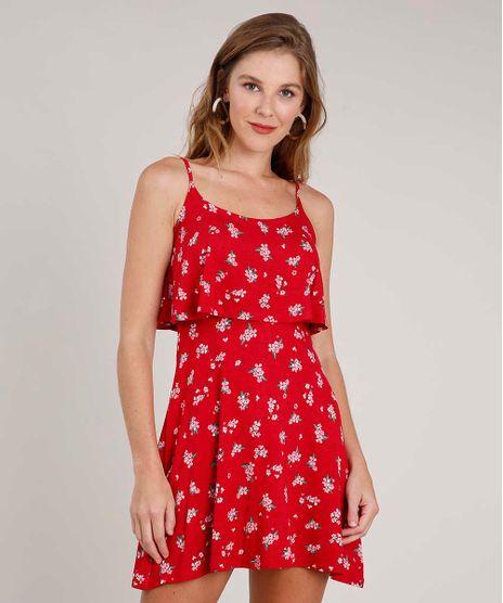 Vestido-Feminino-Curto-Evase-Estampado-Floral-com-Sobreposicao-Alca-Fina-Vermelho-9853910-Vermelho_1