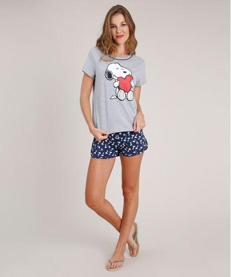 Pijama-Feminino-Snoopy-Manga-Curta-Cinza-Mescla-9829397-Cinza_Mescla_1