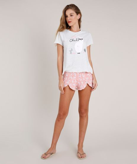 Pijama-Feminino-Lhama-com-Pompom--Just-Chill--Manga-Curta-Cinza-Mescla-Claro-9836545-Cinza_Mescla_Claro_1